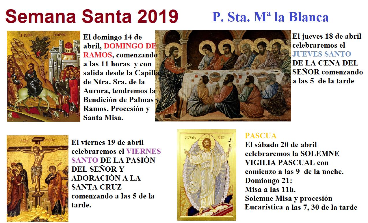 Horaraios Semana Santa 2019